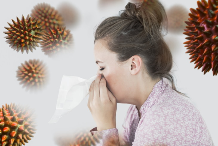 Alcohol Immune System woman sneezing with germs around her