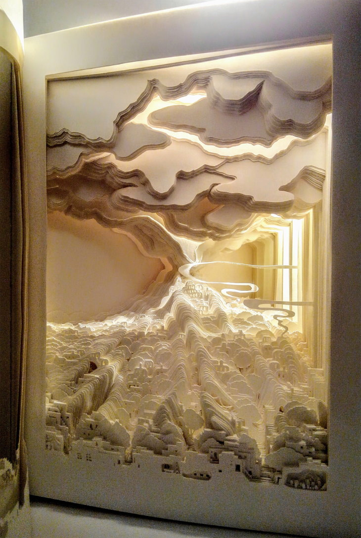 "Ayumi Shibata Paper Cutting Art 'Volcano Book"""