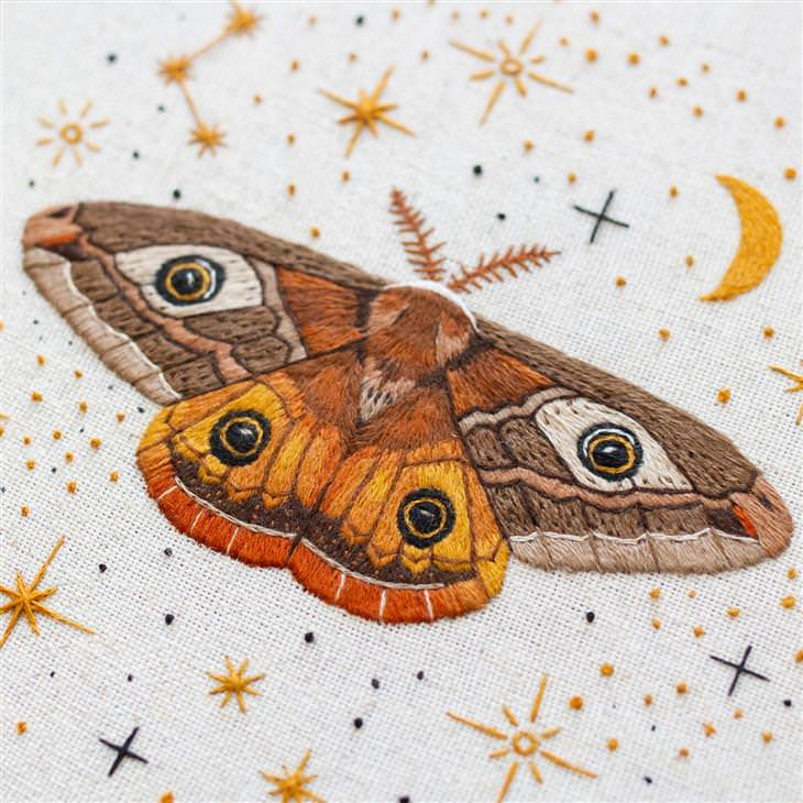 Stitching inspired by nature: butterfly orange