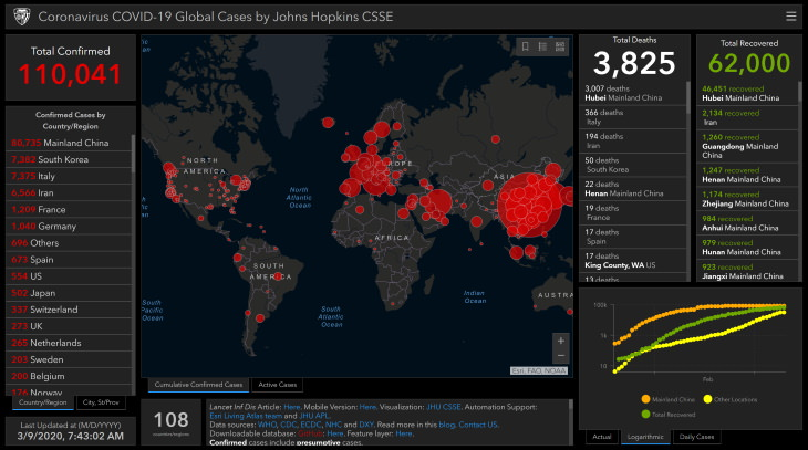 Coronavirus Online Map Coronavirus COVID-19 Global Cases by Johns Hopkins CSSE