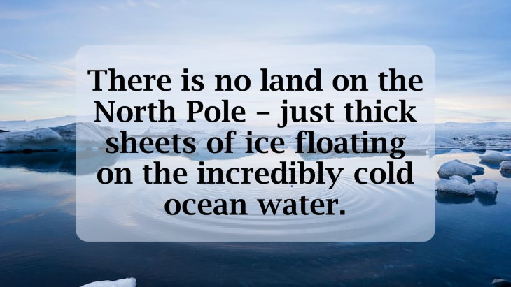 12 Fascinating Facts About the North Pole There is no land on the North Pole – just thick sheets of ice floating on the incredibly cold ocean water.