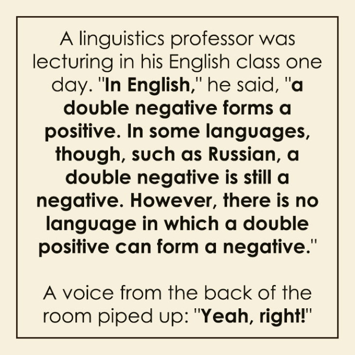 Clever Language Jokes and Puns double negative