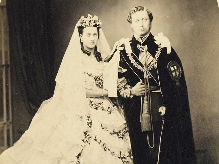 2. Prince Edward (to be King Edward VII) and Princess Alexandra of Denmark at St George's Chapel, Windsor Castle,  March 10, 1863