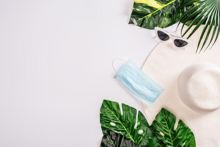 Coronavirus Summer beachware and a face mask