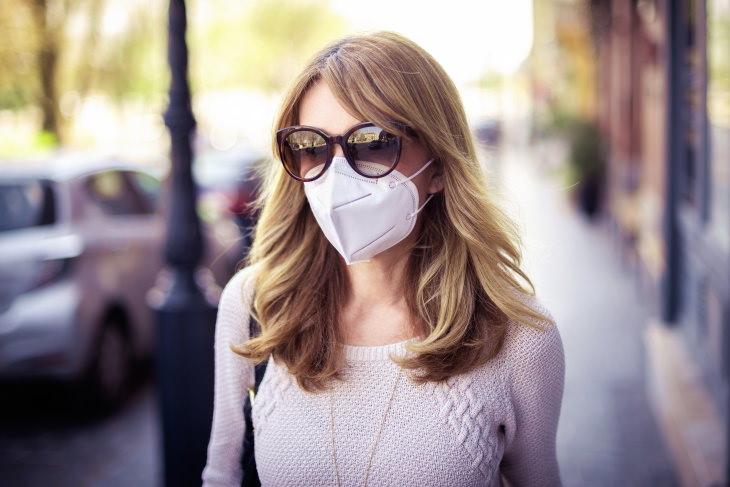 Coronavirus Summer woman wearing sunglasses and face mask