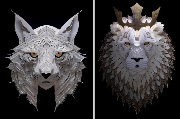 Patrick Cabral paper wildlife Bobcat (left) and Crowned Lion (right)