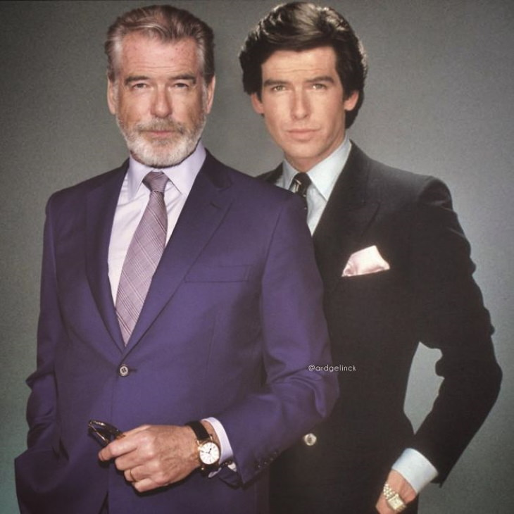 tars Side by Side Their Younger Selves  Pierce Brosnan