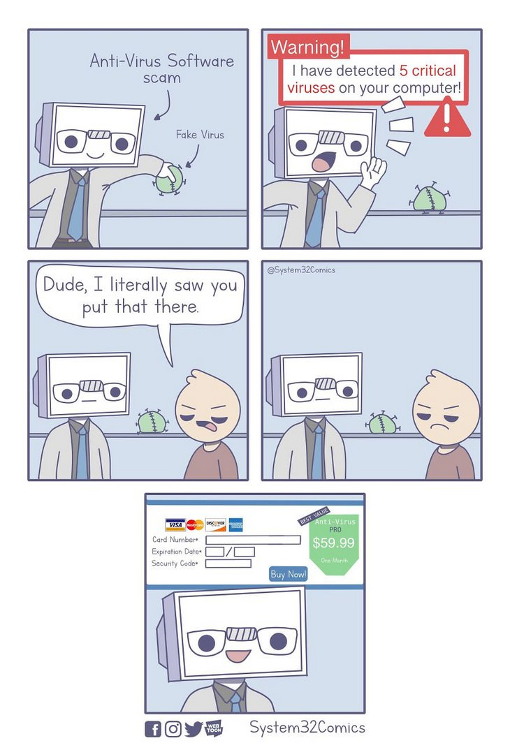 10 comics about the annoying side of technology fake virus