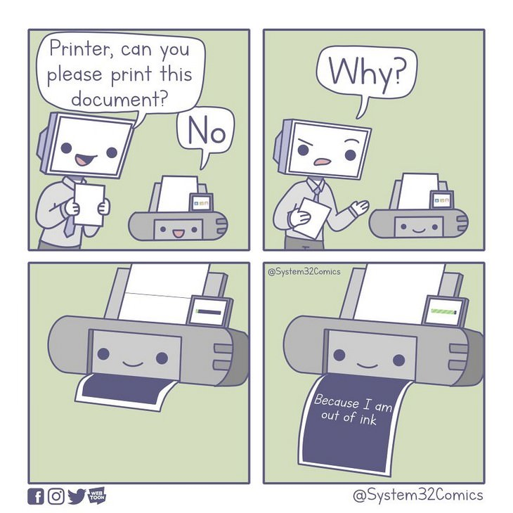 10 comics about the annoying side of technology printer