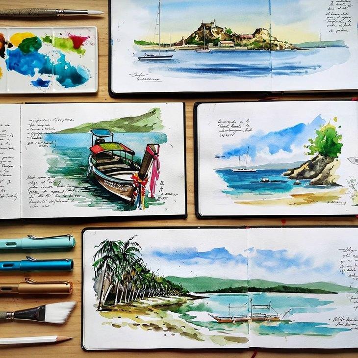 Watercolor Travel Paintings, beach
