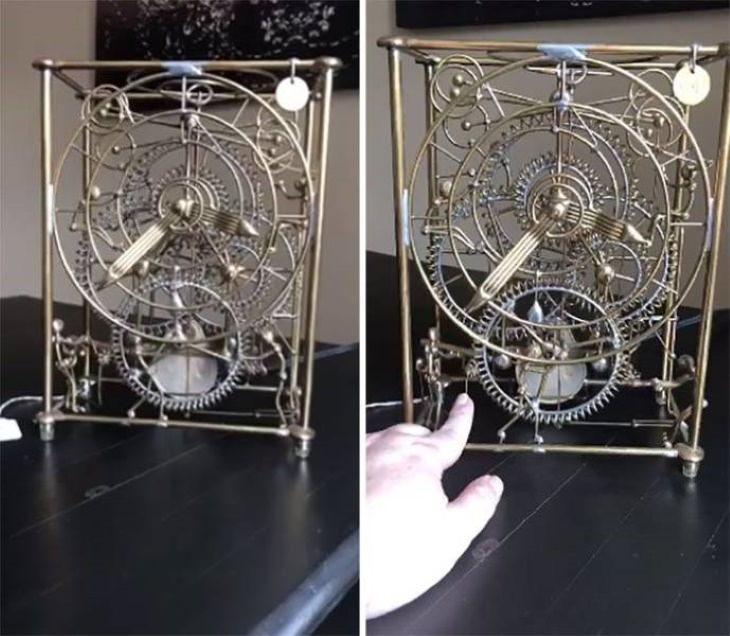"Thriftstore Treasures Kinetic ""Six Man Clock"" Sculpture by Gordon Bradt"