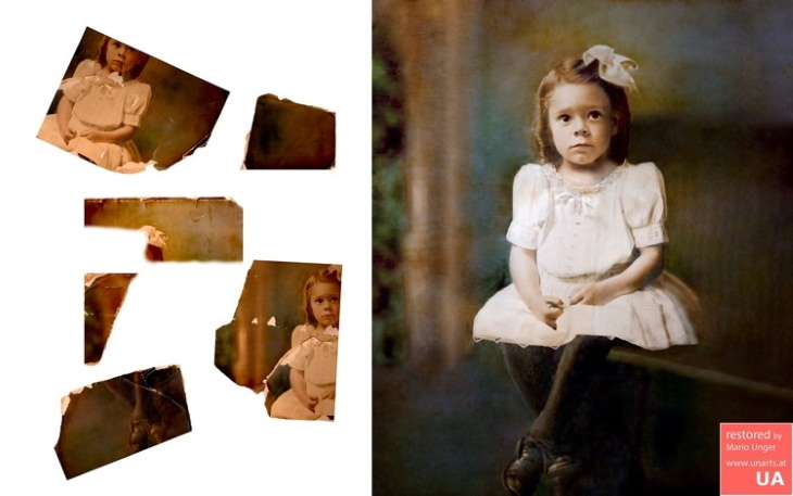 Mario Unger photo restoration cut up by scissors