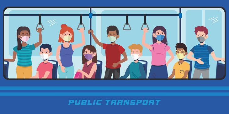 COVID-19 Risk Public Tranit, safety, mask, hygiene