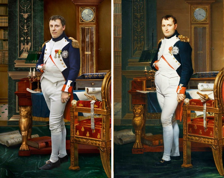 Historical Figures Side by Side Their Live Descendants Napoleon in his study, a portrait by Jacques-Louis David, 1812, (right) andHugo de Salis, Napoleon's 4th great grandson (left)