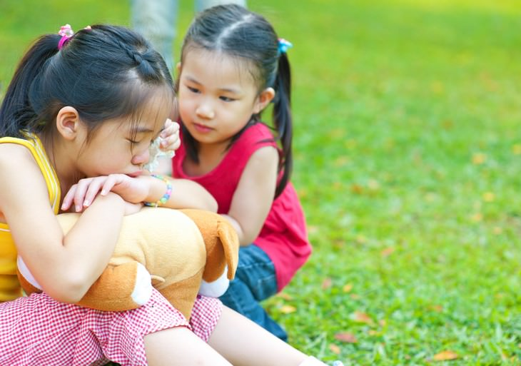 How to Raise Highly Emotionally Intelligent Kids little girl comforting friend