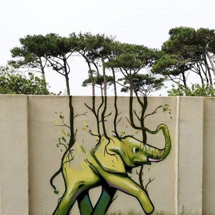 Graffiti Artist Uses Surroundings Brilliantly