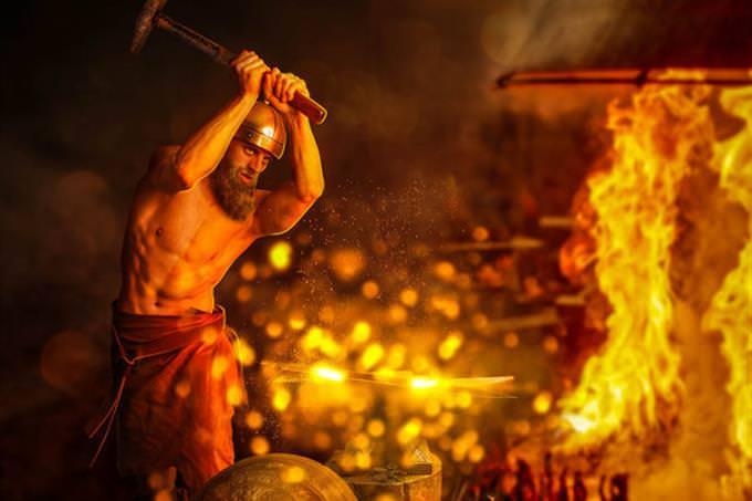 Hephaestus with hammer