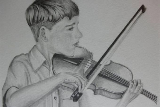 boy playing violin sketch