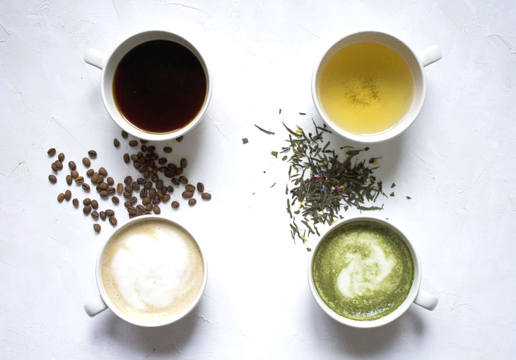 Tea vs. Coffee flatlay different beverages