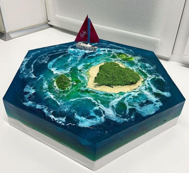 Paradise Island Cakes island and sailboat