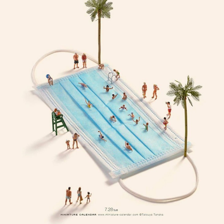 Artist Gives Covid Related Objects a New Meaning mask swimming pool