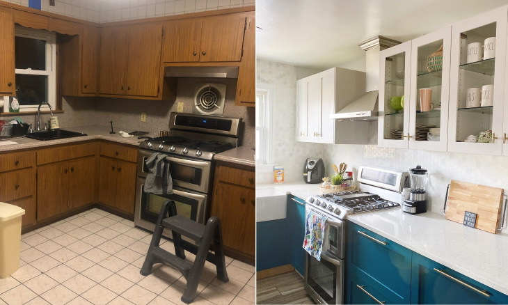 Before and After Kitchen Transformations blue kitchen
