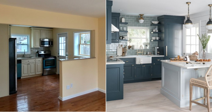 Before and After Kitchen Transformations wall kitchen