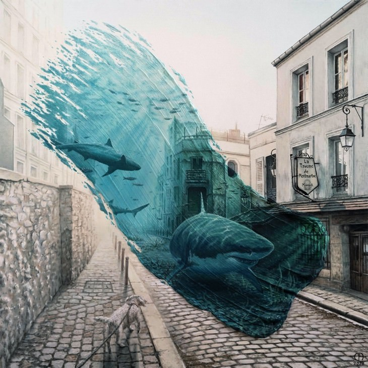 Artist Shows the Same Place in Different Times, Sharks in Montmartre