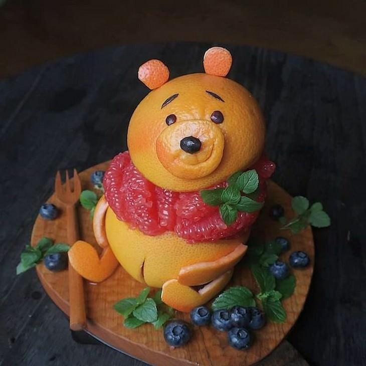 Etoni Mama's cute food art, oranges Winnie the Pooh