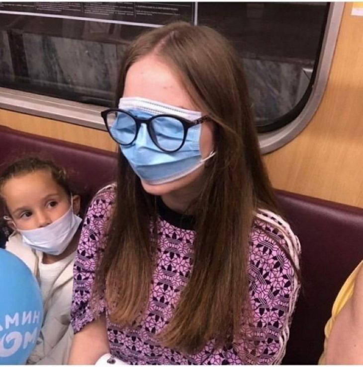 Weird Subway Passengers mask glasses