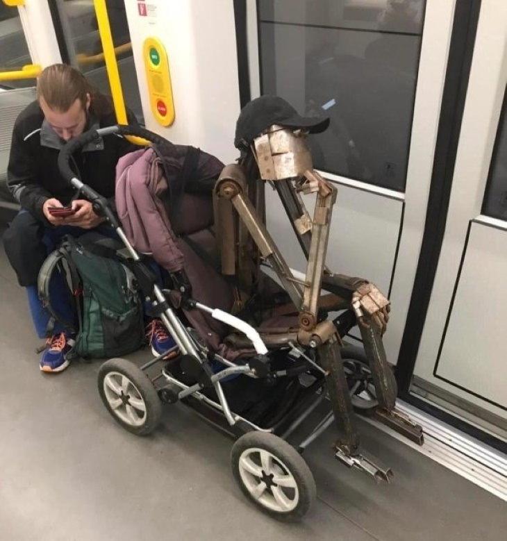 Weird Subway Passengers sculpture