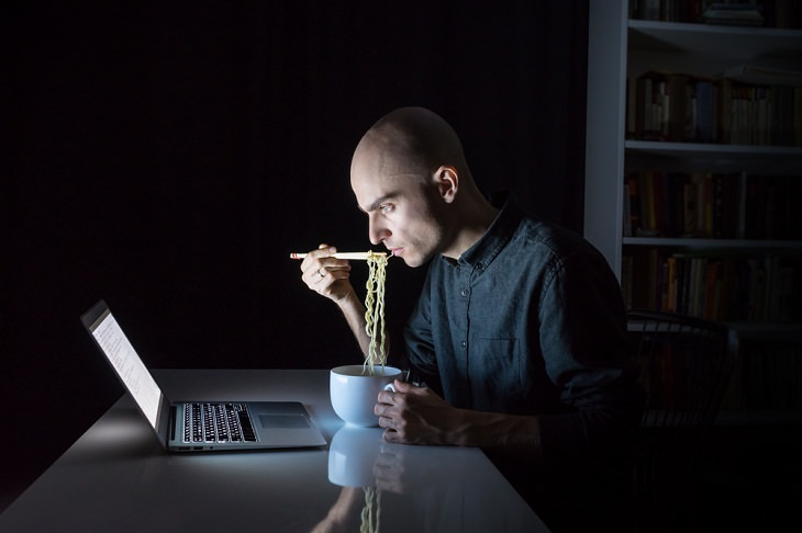 Eat Your Dinner Early, man eating noodles at night