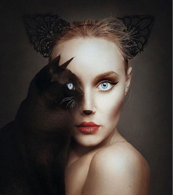 Digital Artist Combines Faces of People & Animals cat