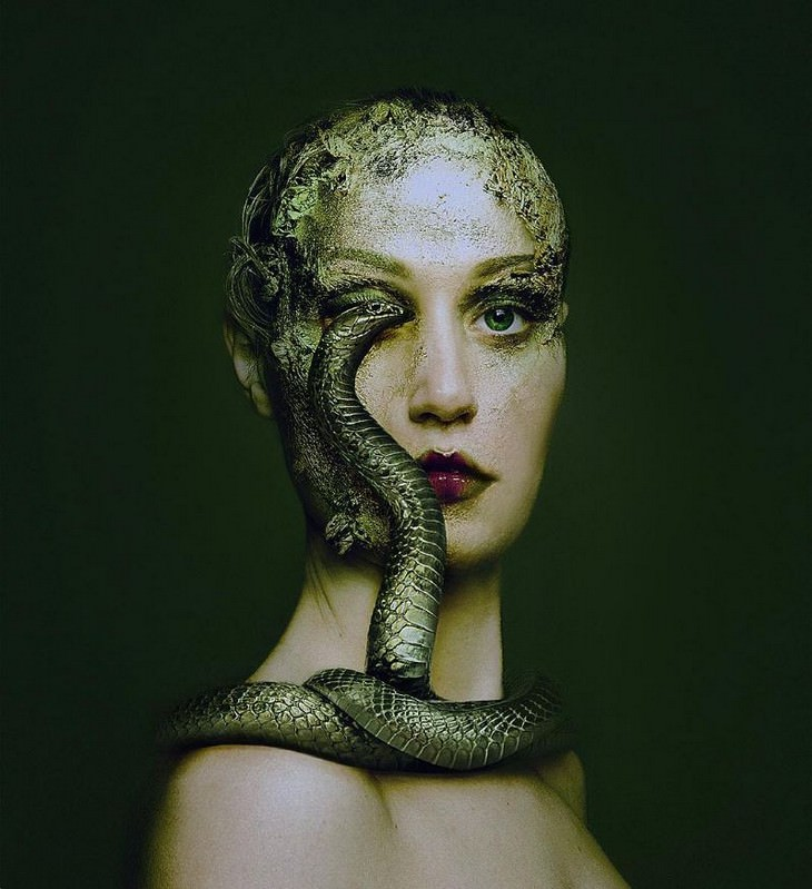 Digital Artist Combines Faces of People & Animals snake