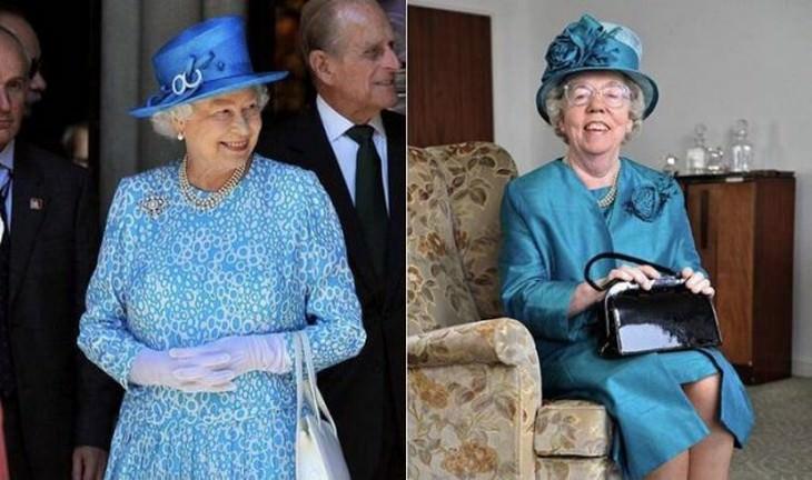 2. La reina Isabel II ha tenido el mismo doble de cuerpo durante 30 años. Antes de que la monarca aparezca en los grandes eventos, Ella Slack camina, se pone de pie y se sienta en todos lados para asegurarse de que todo esté perfectamente organizado.