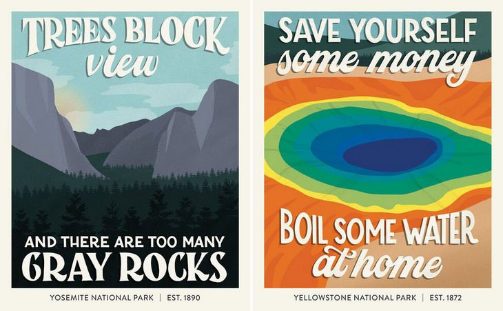 Terrible National Park Reviews Illustrated Yosemite National Park, Yellowstone National Park