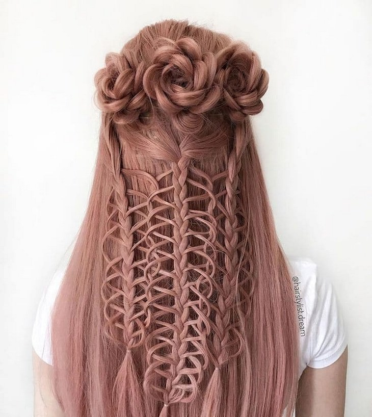 Intricate hairstyles and braids by teenage artist