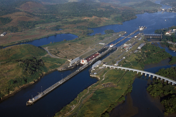 The Incredible History of the Panama Canal, canal aerial view