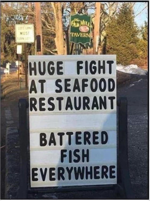 Funny Signs battered fish