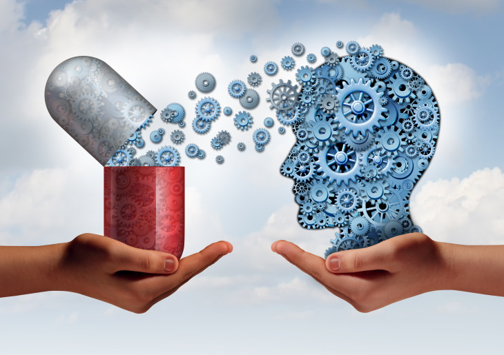 Melatonin and Memory illustration with brain and medication