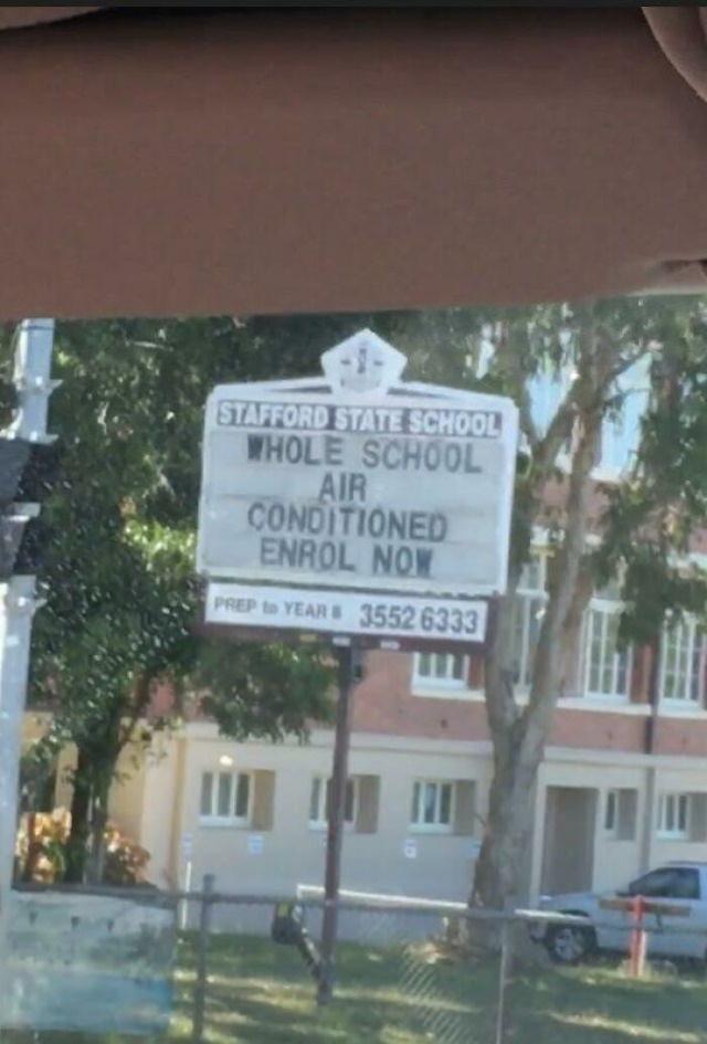 Australia, the Unpredictable school sign