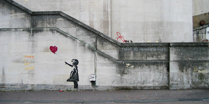 Famous Figures Who Kept Their Identity a Secret, Banksy Girl and Heart Balloon
