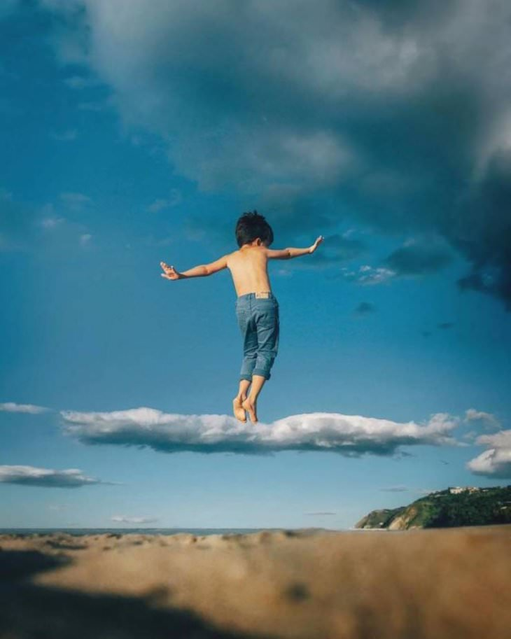 22 Stunning Natural Optical Illusions, kid walking on a cloud
