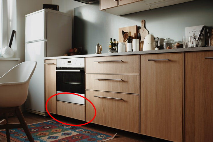 Secret Features in Everyday Objects drawer right beneath the oven