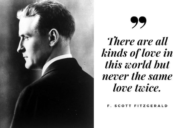 F. Scott Fitzgerald Quotes, There are all kinds of love in this world but never the same love twice