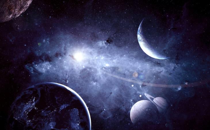 Einstein, ilustración de los planetas en el espacio
