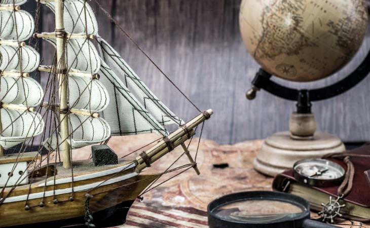 Compass, map, globe, miniature ship