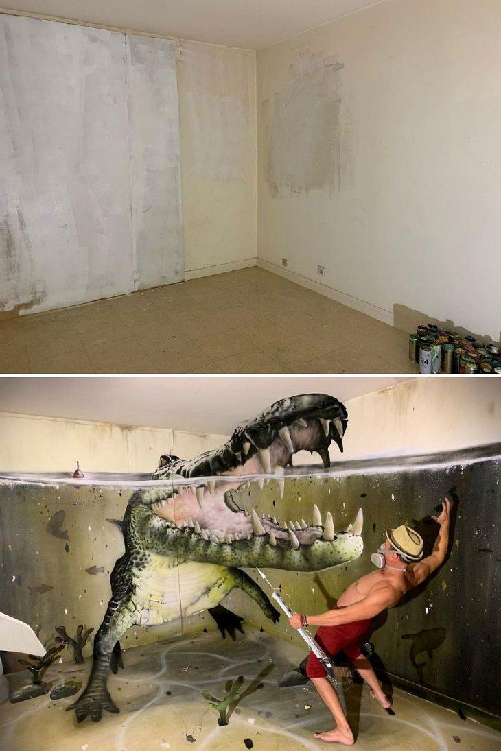 3D Graffiti Illusions, croc