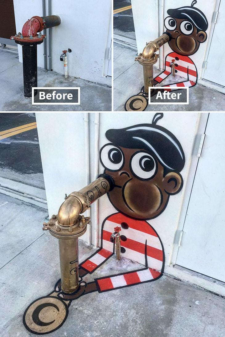 16 Clever and Funny Street Art Pieces by Tom Bob, Don't play the saxophone, let it play you (Miami)