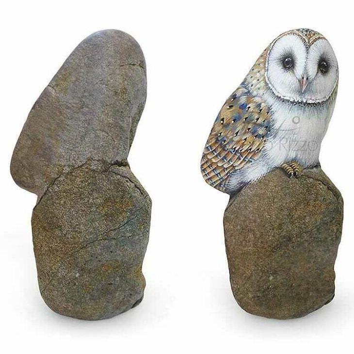 Roberto Rizzo Turns Rocks Into Amazing Animals Art owl